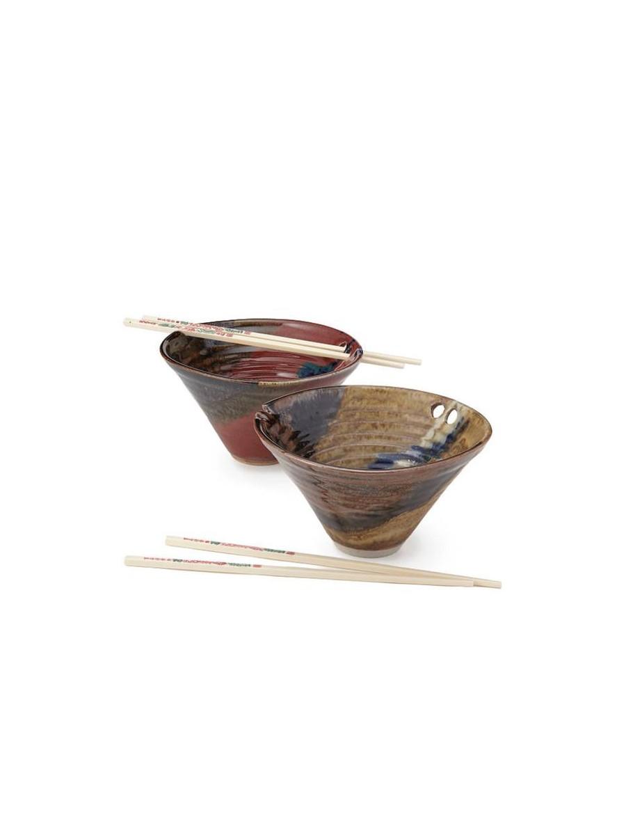 Handmade noodle bowl with chopsticks